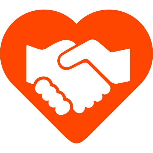 handshake within heart pictogram
